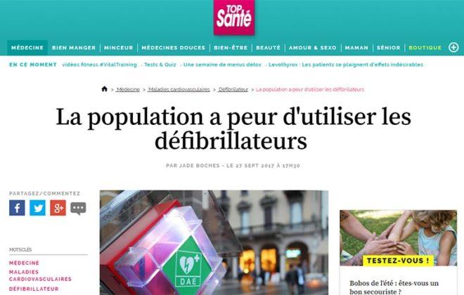 Article Top Santé : la population a peur d'utiliser les défibrillateurs